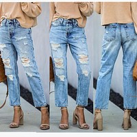 Ripped jeans street hipster mid-waist ripped straight leg pants women