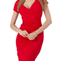 Red Wrap Front Plunge Short Sleeve Ruched Dress