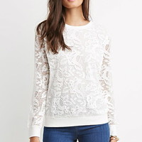 Embroidered Mesh Layered Pullover