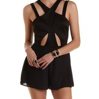 Black Strappy Crossover Cut-Out Romper by Charlotte Russe