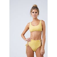 Back Tie Bralette Bikini Top - Marigold Yellow Speckled Print