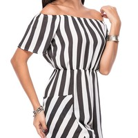 Casual Off Shoulder Vertical Striped Straight Romper