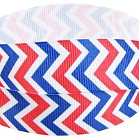 "Grosgrain Ribbon, 7/8"" Chevron Grosgrain Ribbon--Red, White and Blue, Patriotic, Fourth of July,  sold by the yard, craft supply"