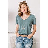 V Neck Basic Top | Blue