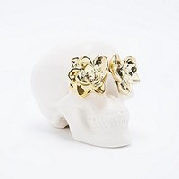 Skull and Roses Money Bank in Ivory and Gold - Urban Outfitters