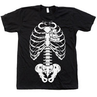 Unisex SKELETON Shirt Custom Hand Screen Printed on American Apparel Crew Neck Available: S, M, L, XL, XXL 10 Color Option