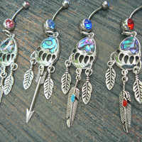 bear claw belly ring bear paw PICK ONE abalone belly ring arrow  feather belly ring bear belly ring  in boho tribal beach hipster style