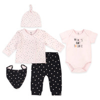"""Petit Lem™ """"What's Not to Love"""" Top, Pant, Bodysuit, Hat, and Bib Set in Pink/Grey"""