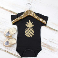 Gold Pineapple Black Onesuit or Shirt| Gold Sparkly Pineapple on a Black Onesuit or Shirt