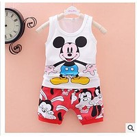 2016 Baby boys clothes Mickey vest shorts sets children cartoon animal suit baby girls summer vetement bebe infant clothing NEW