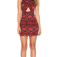 x Naven Twins Play For Keeps Dress in Fuchsia Snake