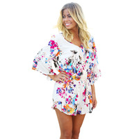 Women Ladies Shorts Rompers Floral Print Elastic Waist Cut Out Romper Jumpsuit Playsuit Pants macacao feminino IMY66