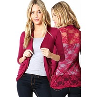 Floral Lace Back Solid Open Front Slim Light Thin Draped Cardigan