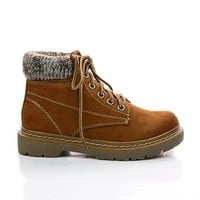Mills Lace Up Lugsole Sweater Cuff Ankle Boots