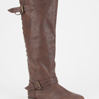 Bamboo Womens Studded Riding Boots Brown  In Sizes