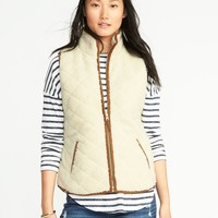 Quilted Sherpa Vest for Women | Old Navy