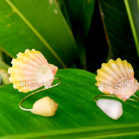 Sunrise Shell Wrap Around Ring, Sterling Silver, Hawaii Shell