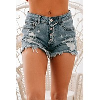 You're Just Right Button Up Distressed Shorts (Medium Wash)