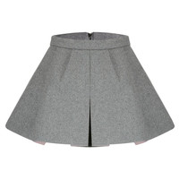 Grey Pleated Skirt in Wool not available