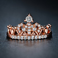 Crown Rose Gold Cubic Zirconia Ring Queen Crown Ring Princess Ring Diamond Double Ring Everyday Modern Trendy Ring, AR0217