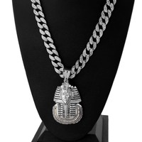 """Men Iced Out Giant Pharaoh Pendant w/ 30"""" Iced Out Cuban Link Chain NN036G"""