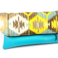 Dark Teal Honeycomb Ikat Vegan Leather Foldover Clutch, Cream, Metal Zipper, Cute Purse, For Her Under 30, Lined, On the Go
