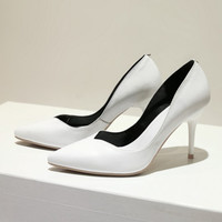 Korean Summer Classics Pointed Toe Leather High Heel Shoes [4920468868]