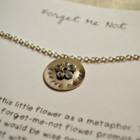 forget me not   hand-stamped necklaces