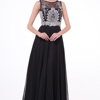 17-56 PRIMA Jeweled Sheer Illusion Chiffon A-Line Evening Gown Prom Dress
