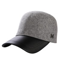 Winter Hats For Women 100% Wool Button Baseball Caps M logo Sun Visor Hat Gorras Casquette Touca Black Casual free shipping