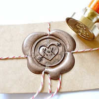 Custom Wax Seal Stamp - Initials Heart & Arrow x 1