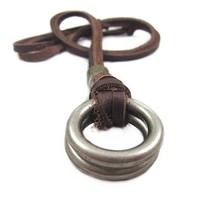 Brown Leather and Alloy Pendant Adiustable Necklace Mens Necklace Unisex Necklace Cool Necklace Pl233