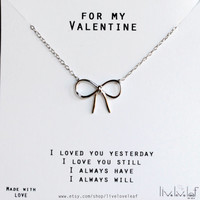 Valentine's Day Gift ideas - Sterling Silver Bow Necklace Silver Bow Tie Necklace Gift for her beautiful dainty cute simple everyday jewelry