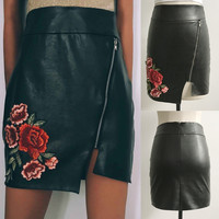 Fur Floral Zippers Irregular High Waist Sexy Slim Skirt [11054788047]