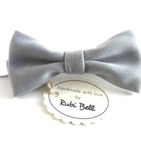 Light grey velvet bow tie, winter bow tie, Christmas bow tie, Christmas gift