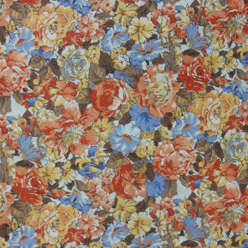 """Floral Print Fall Colors Cotton Textured Fabric 2.5 yds. 43"""" wide"""