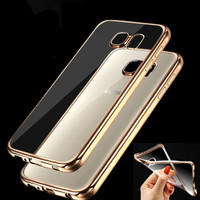 Case for Samsung Galaxy J5 J7 2016 A3 A5 A7 2016 Grand Prime S5 S6 S7 Edge Luxury Clear Gold Plating Soft Silicone Phone Cover