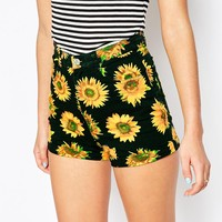 Motel Ibu High Waist Shorts in Sunflower Print