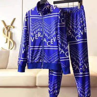 Versace Fashion Cardigan Jacket Coat Pants Trousers Sportswear Set Two-Piece Blue