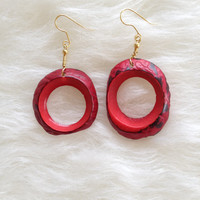 Mismatched Red Circle Tagua Earrings - Handmade, Round, Tagua Nut, Natural, Vegetable Ivory, Eco Friendly, Fair Trade, Sustainable, Organic