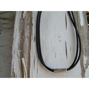 Double Strand Black Leather Necklace with Stainless Steel Magnetic Clasp