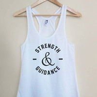Strength and Guidance - Drake One Dance Lyrics White Racerback Womens Tank Top - Sizes - Small Medium Large