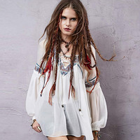 Vintage Embroidery Drawstring V Neck Puff Sleeve Woman Blouse