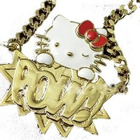 NEW Hello Kitty POW Designer Hip Hop Style Gold Plated Necklace by Jersey Bling