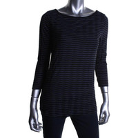 Three Dots Womens Knit Striped Pullover Top