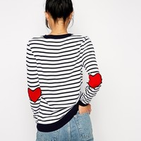 ASOS Stripe Jumper With Heart Elbow Patch