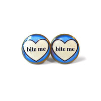 Bite me. Conversation Heart Stud Earrings - Anti Valentine's Day Jewelry - Soft Grunge / Pastel Goth Insult Rude Pop Culture Jewelry