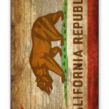 Distressed California State Flag w/Wood Grain Background Image iPhone 5 Quality Hard Snap On Case for iPhone 5/5s - AT&T Sprint Verizon - White Case