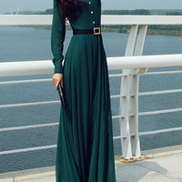 Green Long Sleeves Buttons Maxi Dress