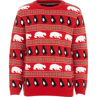 River Island Boys red christmas polar bear sweater